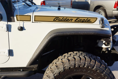 Jeep GOLDEN EAGLE Retro Hood Decals for Wrangler JK - Gold/Black