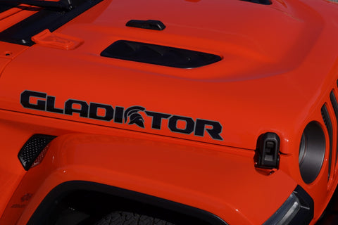 Gladiator Spartan Helmet Side View Two Color Hood Decals for your Jeep Wrangler Gladiator