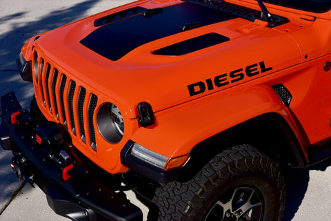 DIESEL Hood Decals for your Jeep Wrangler JL 2019+