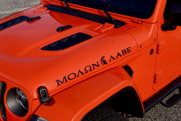 "MOLON LABE ""Come and Take"" with Spartan Helmet Hood Decals for your Jeep Wrangler JL"