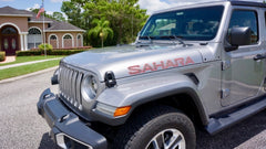 Jeep Wrangler SAHARA Hood Decals JL Style Carbon Fiber with Color Border