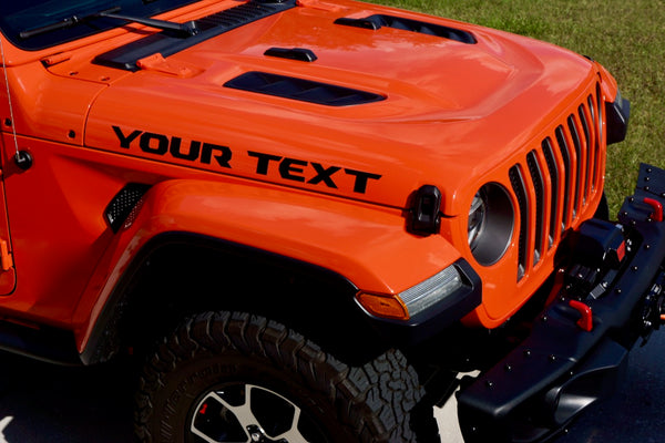 Custom YOUR TEXT Hood Decals for Jeep Wrangler JL