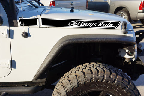 Jeep OLD GUYS RULE Retro Hood Decals for Wrangler JK