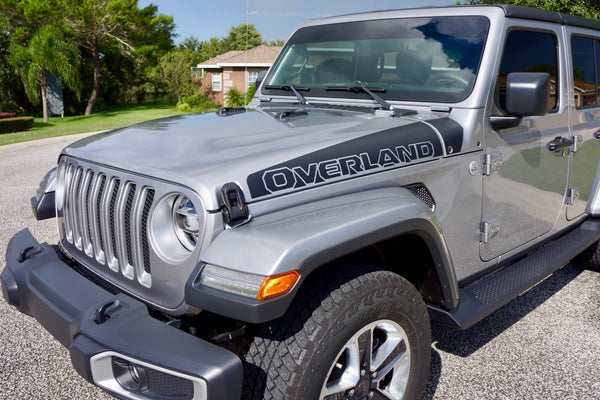 OVERLAND Ramp Style Hood Decals for Jeep Gladiator Pickup