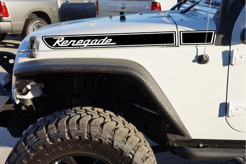 Jeep RENEGADE Retro Hood Decals for Wrangler JK - Multi Color