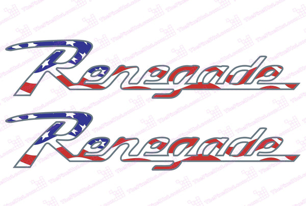 Jeep Wrangler RENEGADE Retro USA Flag Hood Decals with Metallic Border