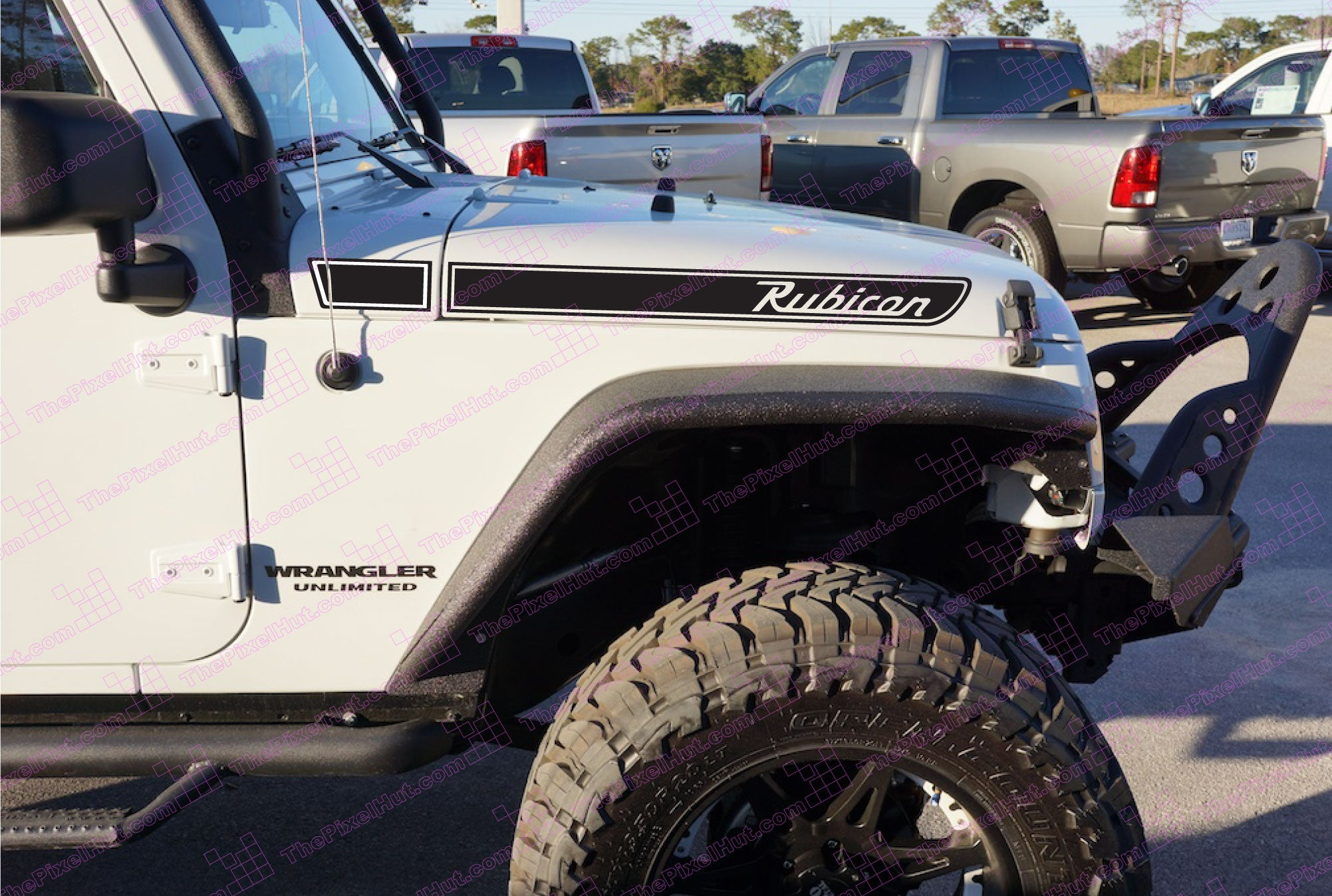 Jeep rubicon retro hood decals wrangler jk multi color for Custom jeep lettering