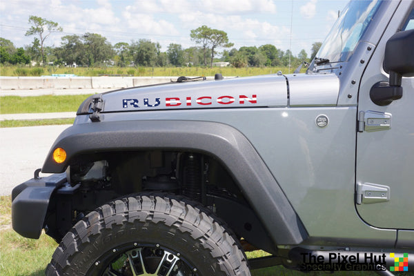 Jeep RUBICON USA Flag Hood Decals