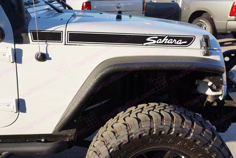 Jeep SAHARA Retro Hood Decals for Wrangler JK