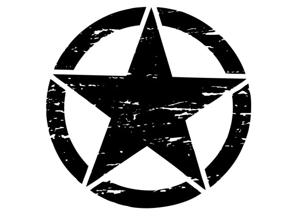 Oscar Mike Freedom Distressed Star Hood Graphic Sticker for Jeep Wrangler