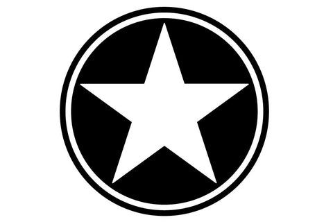 20 inch Freedom Military Star Hood Decal