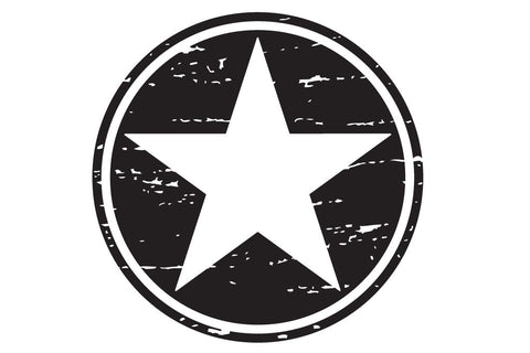 20 inch Distressed Freedom Military Star Hood Decal