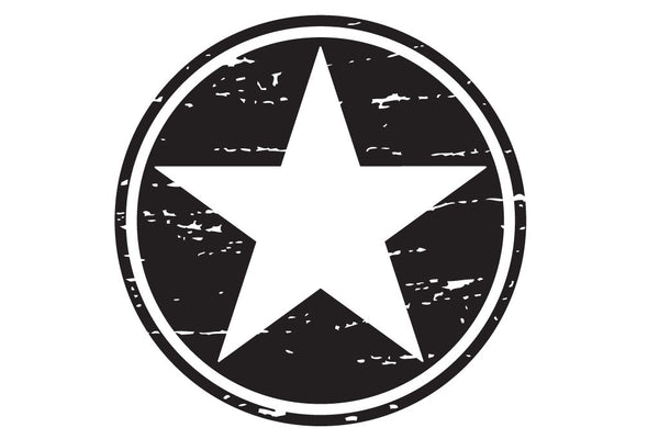 6 inch Distressed Freedom Military Star Hood Decal