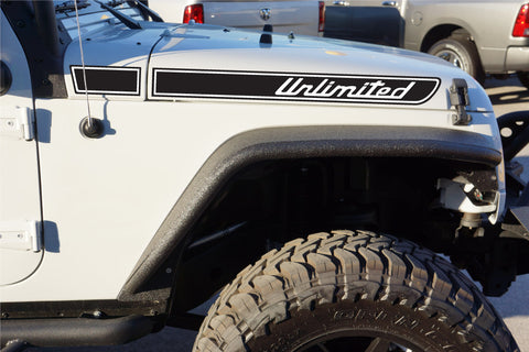Jeep UNLIMITED Retro Hood Decals for Wrangler JK - Multi Color