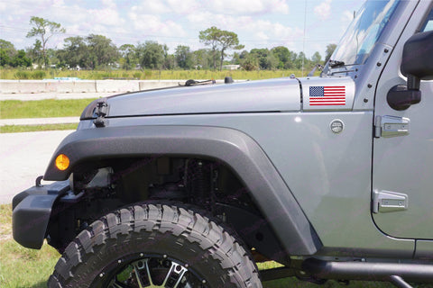 USA American Flag Hood Decals for your Jeep Wrangler - Full Color