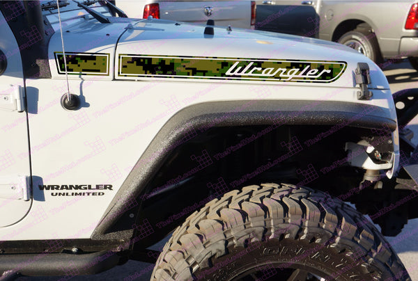 Jeep WRANGLER Olive Drab Camo Retro Hood Decals for Wrangler JK