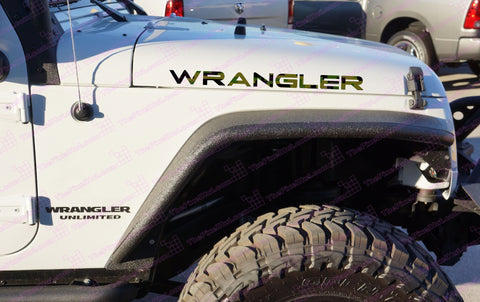 Extra Large Jeep WRANGLER Olive Drab Digital Camo Hood Decals