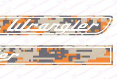 Jeep WRANGLER Orange Camo Retro Hood Decals for Wrangler JK