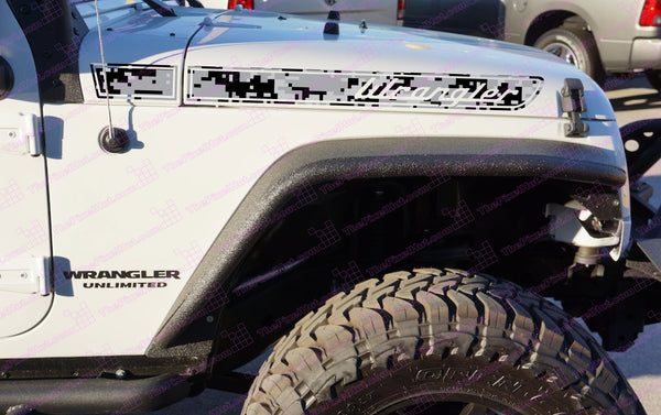 Jeep WRANGLER Grey Urban Camo Retro Hood Decals for Wrangler JK