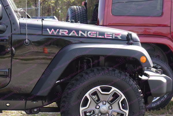 Extra Large Jeep WRANGLER Pink Woodland Camo Hood Decals TJ Style