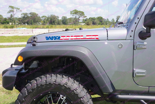 Jeep Wrangler Usa Flag Hood Vinyl Decals For Jk The