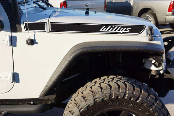 Jeep Willys Retro Hood Decals for Wrangler JK