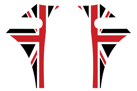 Mini Cooper 2007-2013 Union Jack English Flag A-Panel Red White Black Decal Kit - Exact Fit