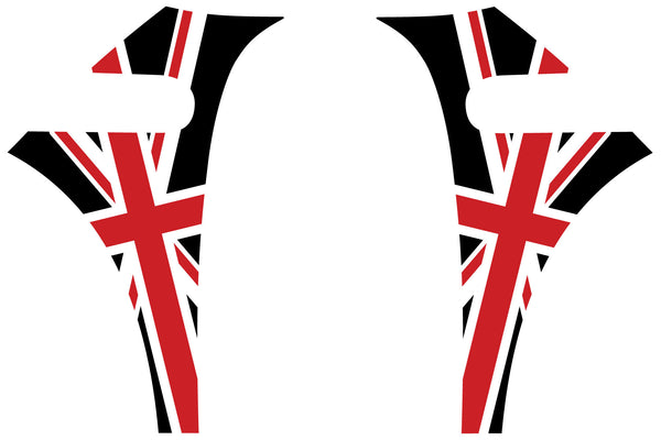 Mini Cooper (2007-2013) Union Jack English Flag A-Panel Red White Black Decal Kit - Exact Fit