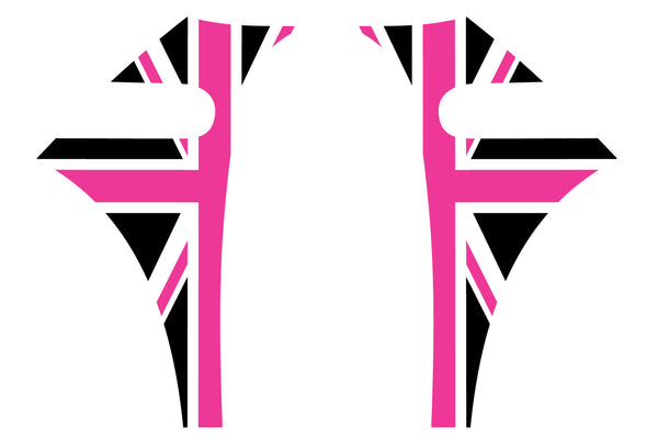 Mini Cooper 2007-2013 Union Jack English Flag A-Panel Hot Pink Black White Decal Kit - Exact Fit