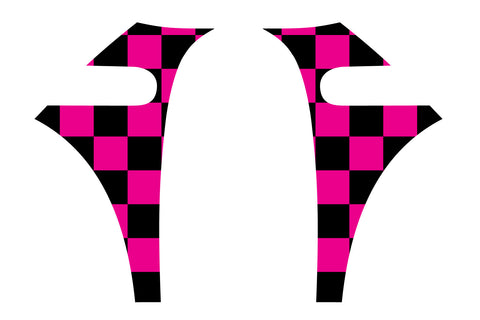 Mini Cooper (2007-2013) Pink Chequered Flag A-Panel Black and Hot Pink Decal Kit - Exact Fit