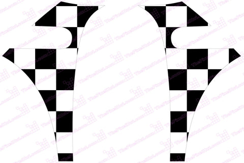 Mini Cooper (2007-2013) R56 Chequered Flag A-Panel Black and White Decal Kit - Exact Fit