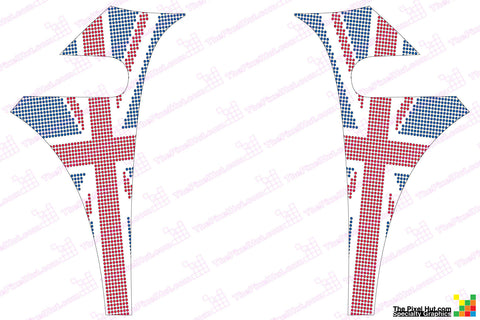 Mini Cooper (2007-2013) R56 Union Jack Pattern English Flag A-Panel Full Color Decal Kit - Exact Fit