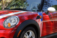 Mini Cooper (2007-2013) R56 USA Flag  Stars and Stripes A-Panel Full Color Decal Kit - Exact Fit
