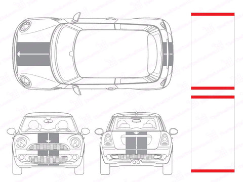 Mini Cooper Center Line Hood and Hatch Racing Stripe Kit - Twin Stripe - Two Color