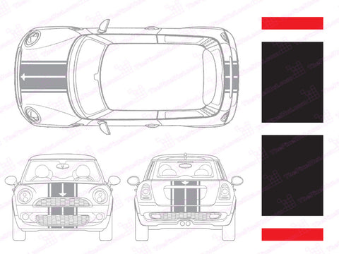 Mini Cooper Center Line Hood and Hatch Racing Stripe Kit - Four Stripe - Two Color