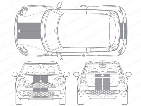 Mini Cooper Center Line Hood and Hatch Racing Stripe Kit - Twin Stripe - Single Color