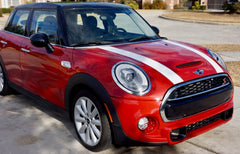 Mini Cooper Hard Top Hood Stripe Decals (2014 to Current) - Exact Fit - Two Color Laminated