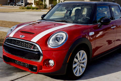 Mini Cooper Hard Top Hood Stripe Decals (2014 to Current) - Exact Fit - Two Color - Non Laminated