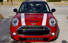 Mini Cooper Hard Top Hood Stripe Decals (2014 to Current) F56 - Exact Fit - Two Color Laminated