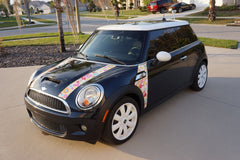 Mini Cooper (2007-2013) R56 Flower Power Hood and A-Panel Full Color Decal Kit - Exact Fit