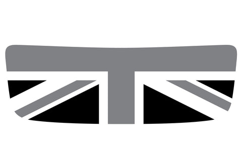 Mini Cooper S (2007-2013) R56 Hood Scoop Decal - Black/Grey/White - Union Jack Flag - Exact Fit
