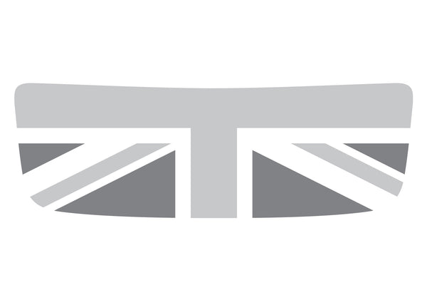 Mini Cooper S (2007-2013) R56 Hood Scoop Decal - Grey/Light Grey/White - Union Jack Flag - Exact Fit