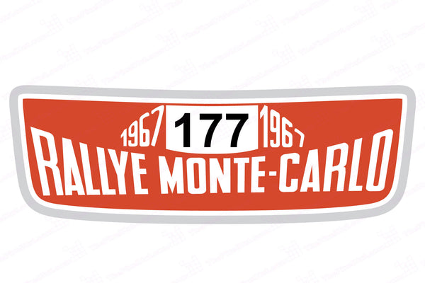 1967 Winner Monte Carlo Rallye Number Board for Mini Cooper S (2007-2013) Hood Scoop Decal