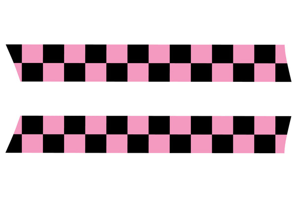 Mini Cooper Hood Stripes (2007-2013) - Exact Fit - Pink / Black Checkered Flag
