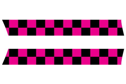 Mini Cooper Hood Stripes (2007-2013) - Exact Fit - Hot Pink / Black Checkered Flag