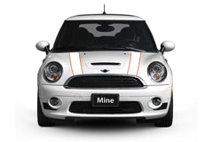 Mini Cooper Hood Stripe Decals (2002-2006) - Exact Fit - Two Color - Non Laminated