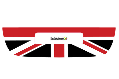 Mini Cooper (2007-2013) R55 R56 Trunk Lid Decal - Exact Fit - Union Jack - Red White Black English Flag