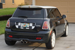 Mini Cooper (2007-2013) R56 Trunk Lid Decal - Exact Fit - White and Black Chequered Flag