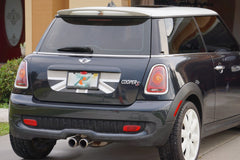 Mini Cooper (2007-2013) R55 R56 Trunk Lid Decal - Exact Fit - Union Jack - Black Grey White English Flag