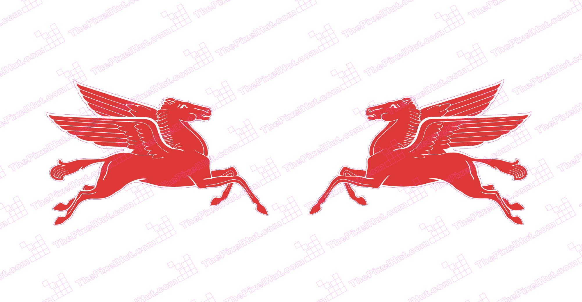 Mobil Pegasus Horse Decal In Red The Pixel Hut
